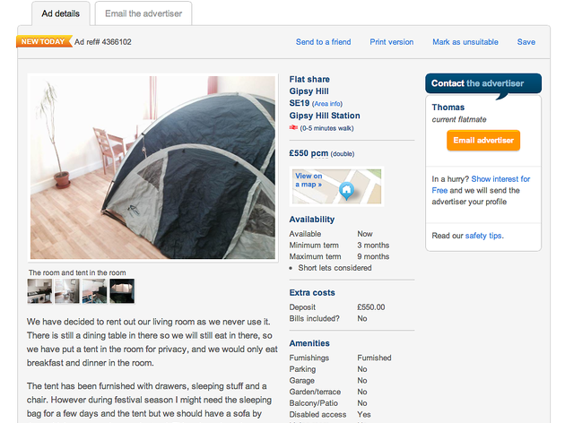 Someone is renting out a tent in a London living room for £550pcm
