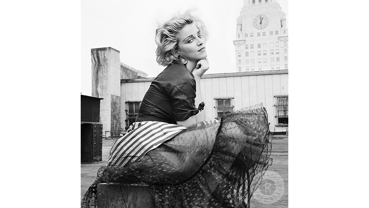 Madonna photographed on a Manhattan rooftop in 1982.