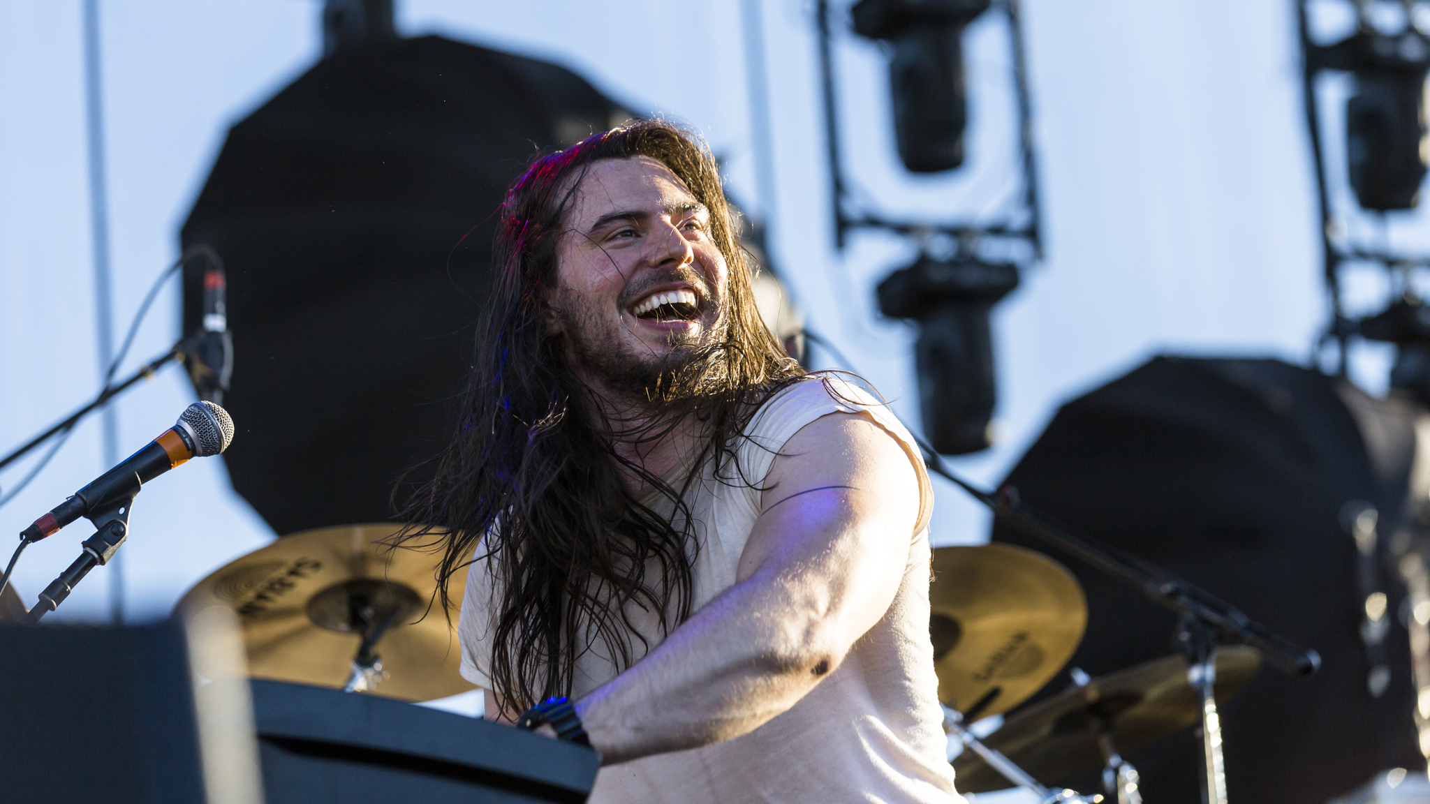 Andrew W.K. turned in a set on the final day of Riot Fest, September 13, 2015.