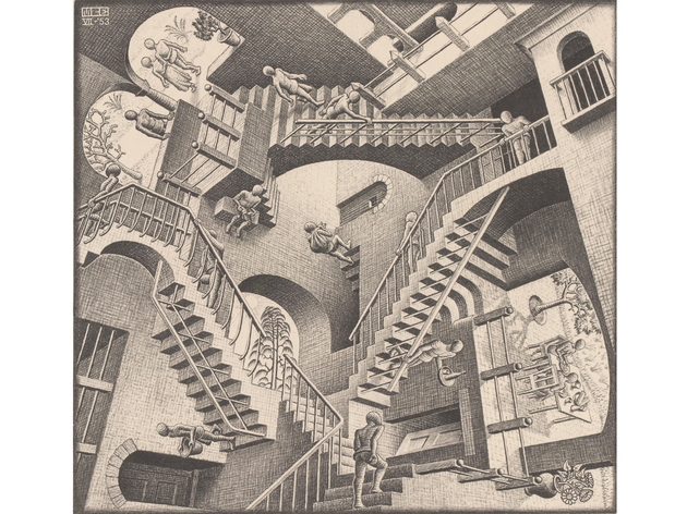 MC Escher is in the house! Turning it upside down, of course