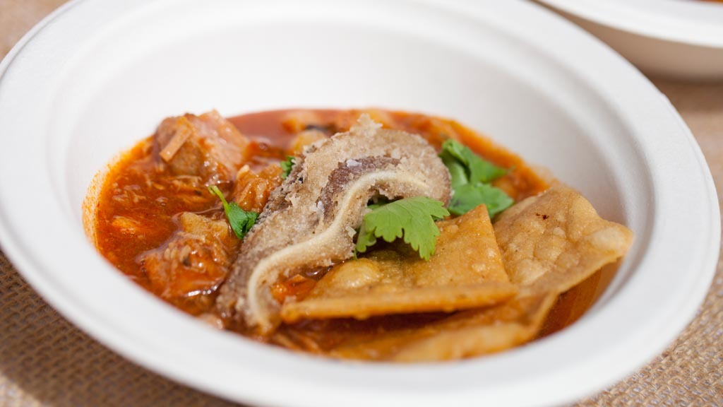 Pork posole with fried pig ears from Redbird at L.A. Loves Alex'