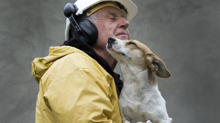 Un señor rescata a un perro.