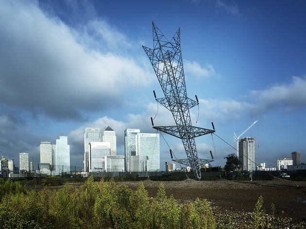 In photos: the massive upside-down electricity pylon sticking out of Greenwich
