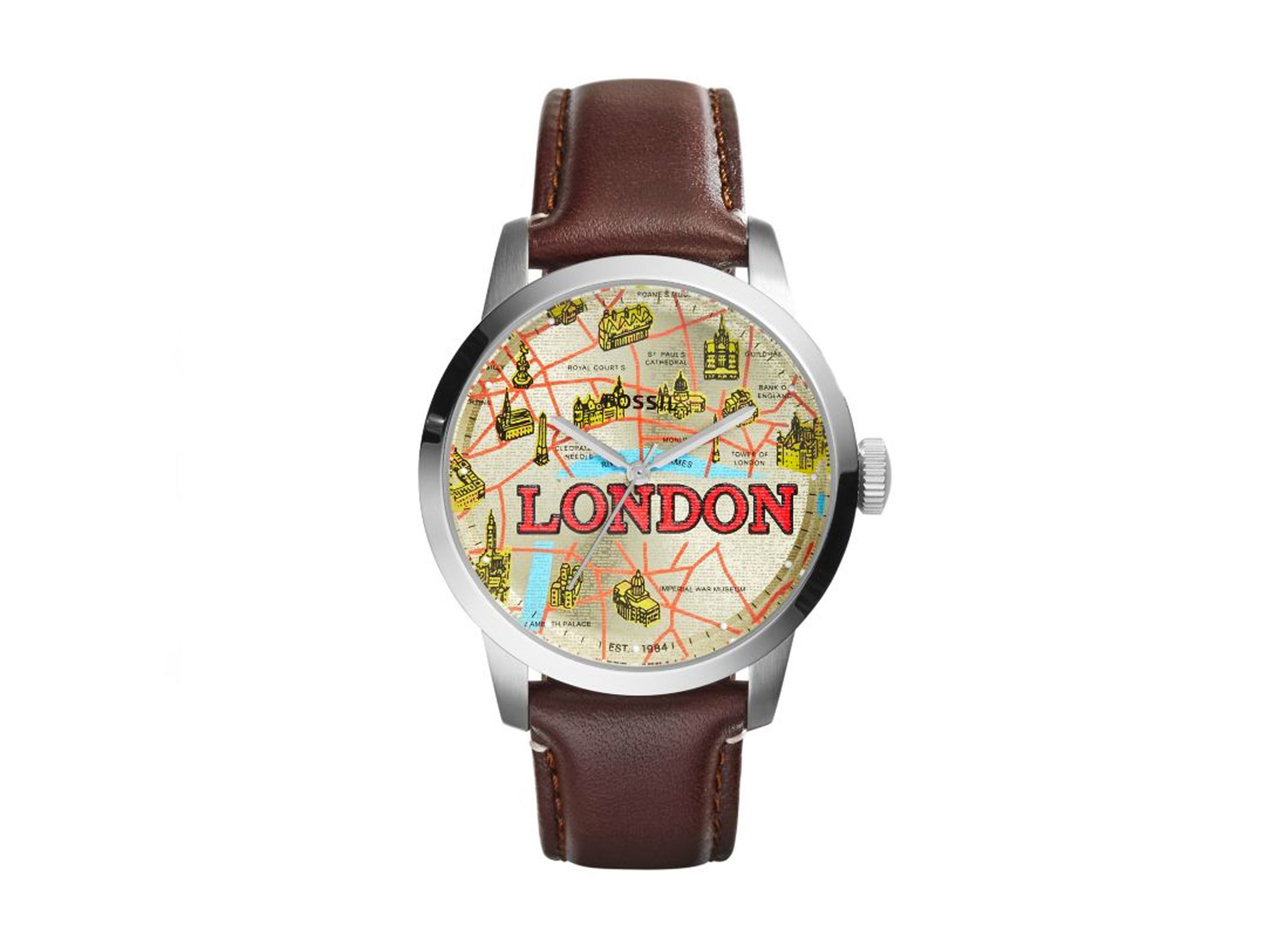Fossil London Men's Brown Leather Strap Watch