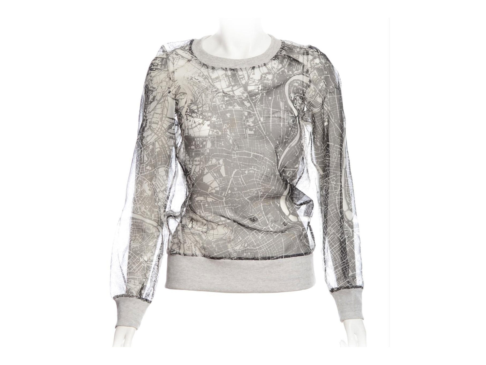 Soft Grey Organza Sweater With Map Illustration