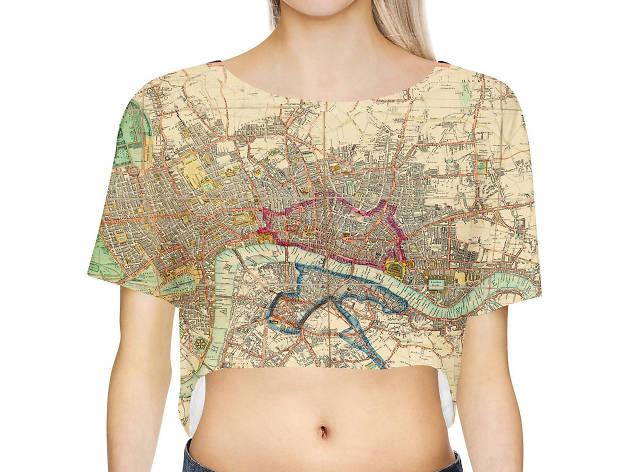 Watercolour London Map Crop Top