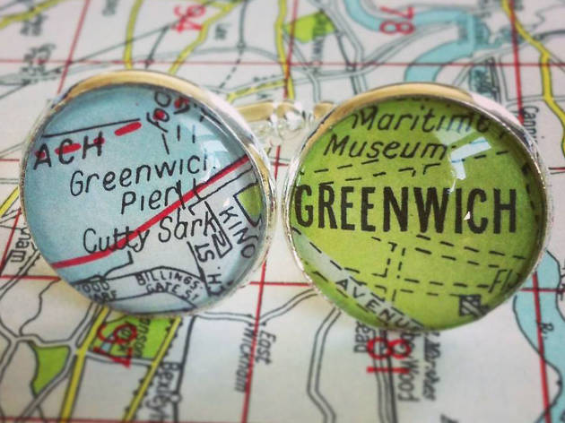 Personalised Silver Plated London Map Cufflinks