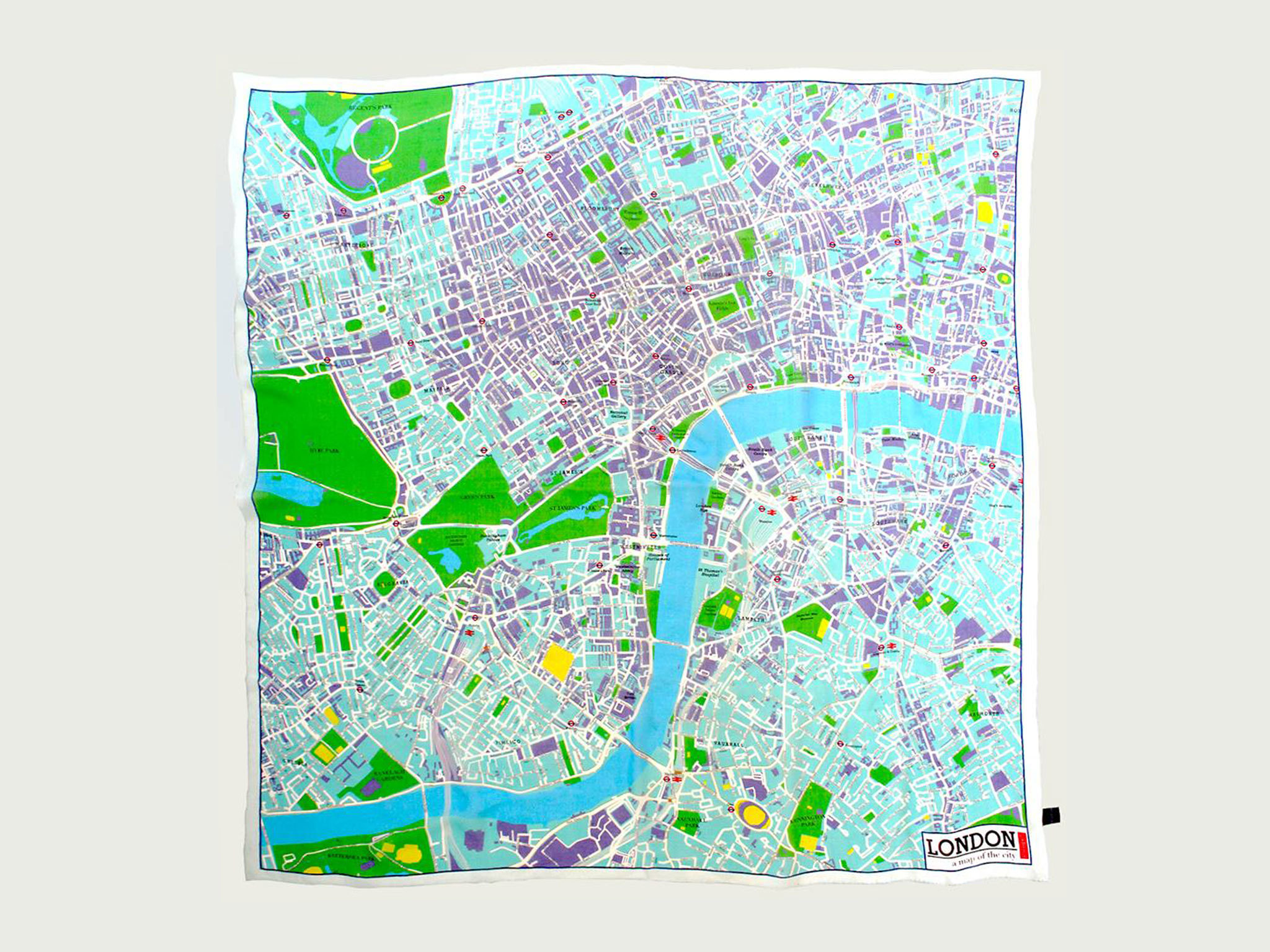 Blue Map Scarf Of London