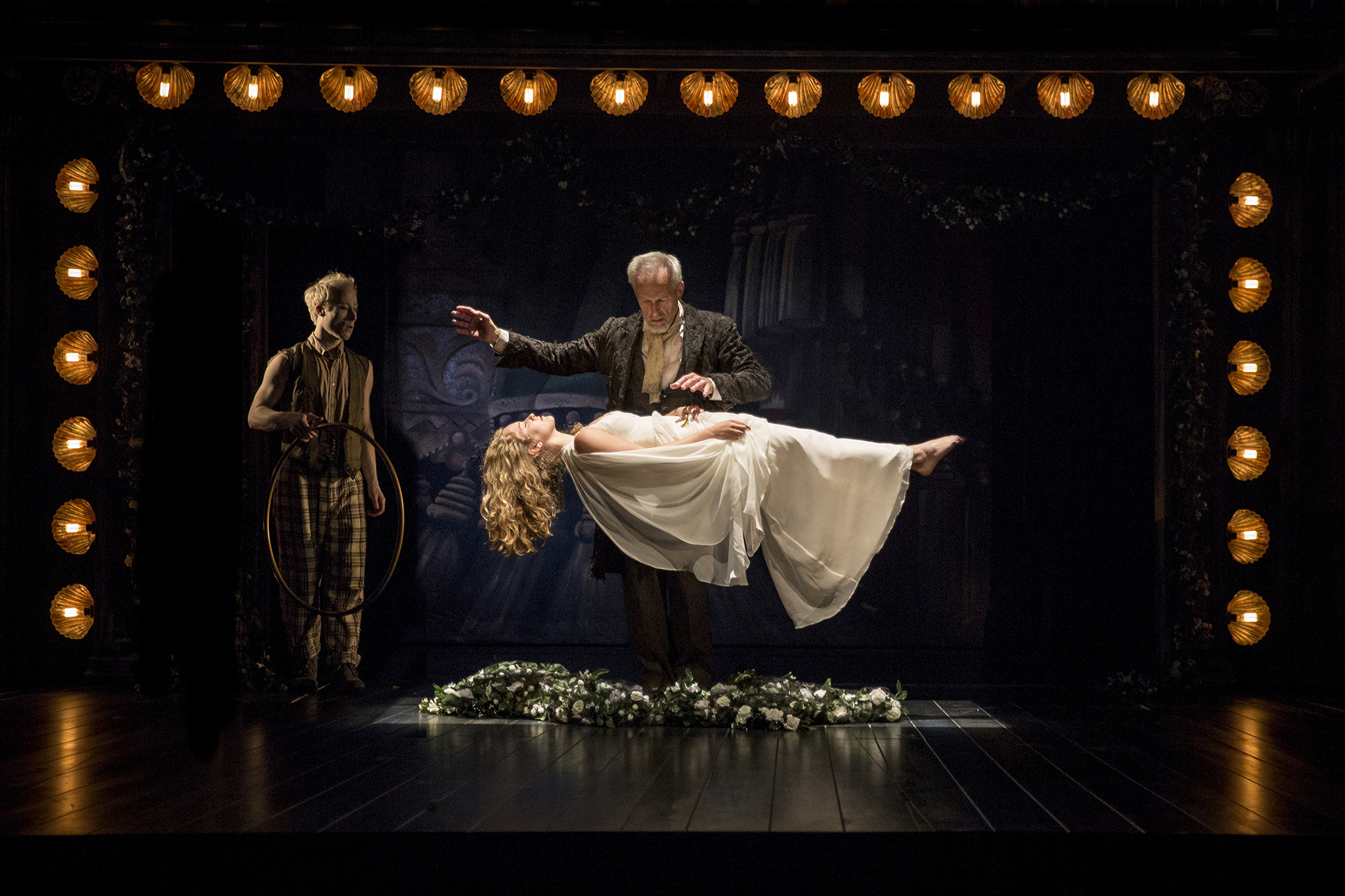 Larry Yando and Eva Louise Balistreiri in The Tempest at Chicago Shakespeare Theater