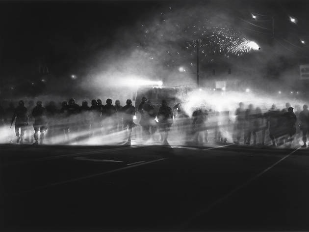 "Robert Longo, ""Untitled (Ferguson Police, August 13, 2014)"""