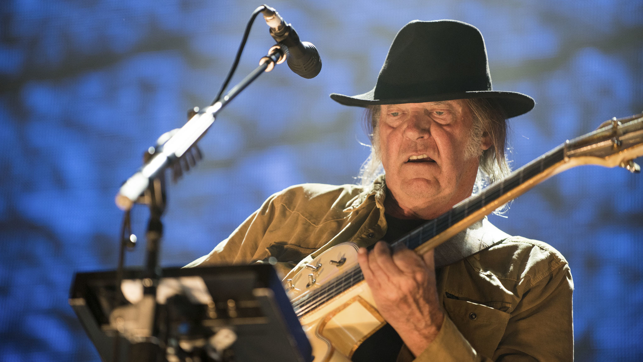 Neil Young performed at the FirstMerit Bank Pavilion at Northerly Island during Farm Aid 30, September 19, 2015.