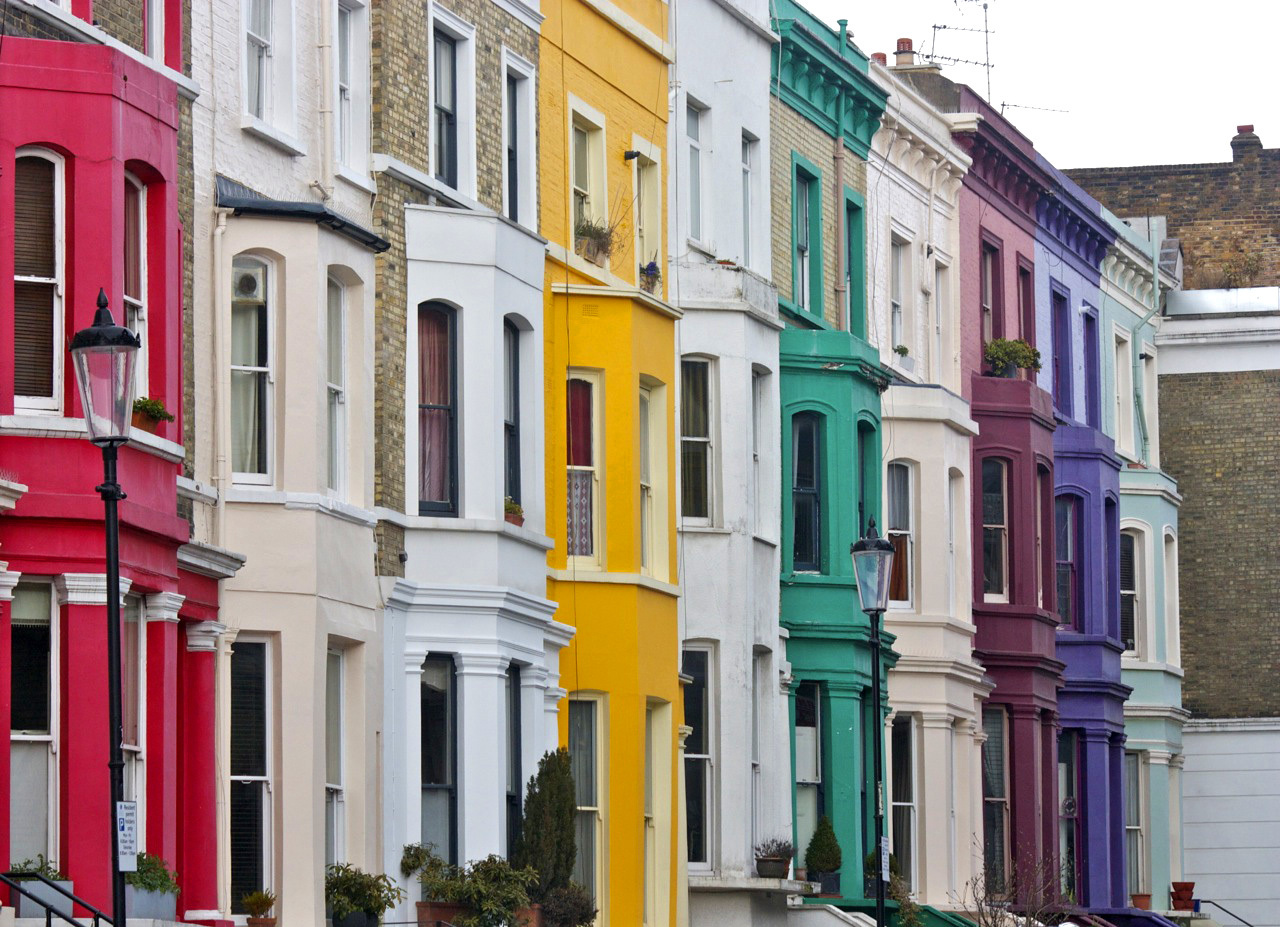 Colourful houses on a Notting Hill street.