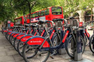 Santander-branded Boris Bikes in London.
