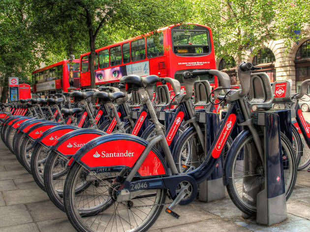Santander-branded Boris Bikes in London.