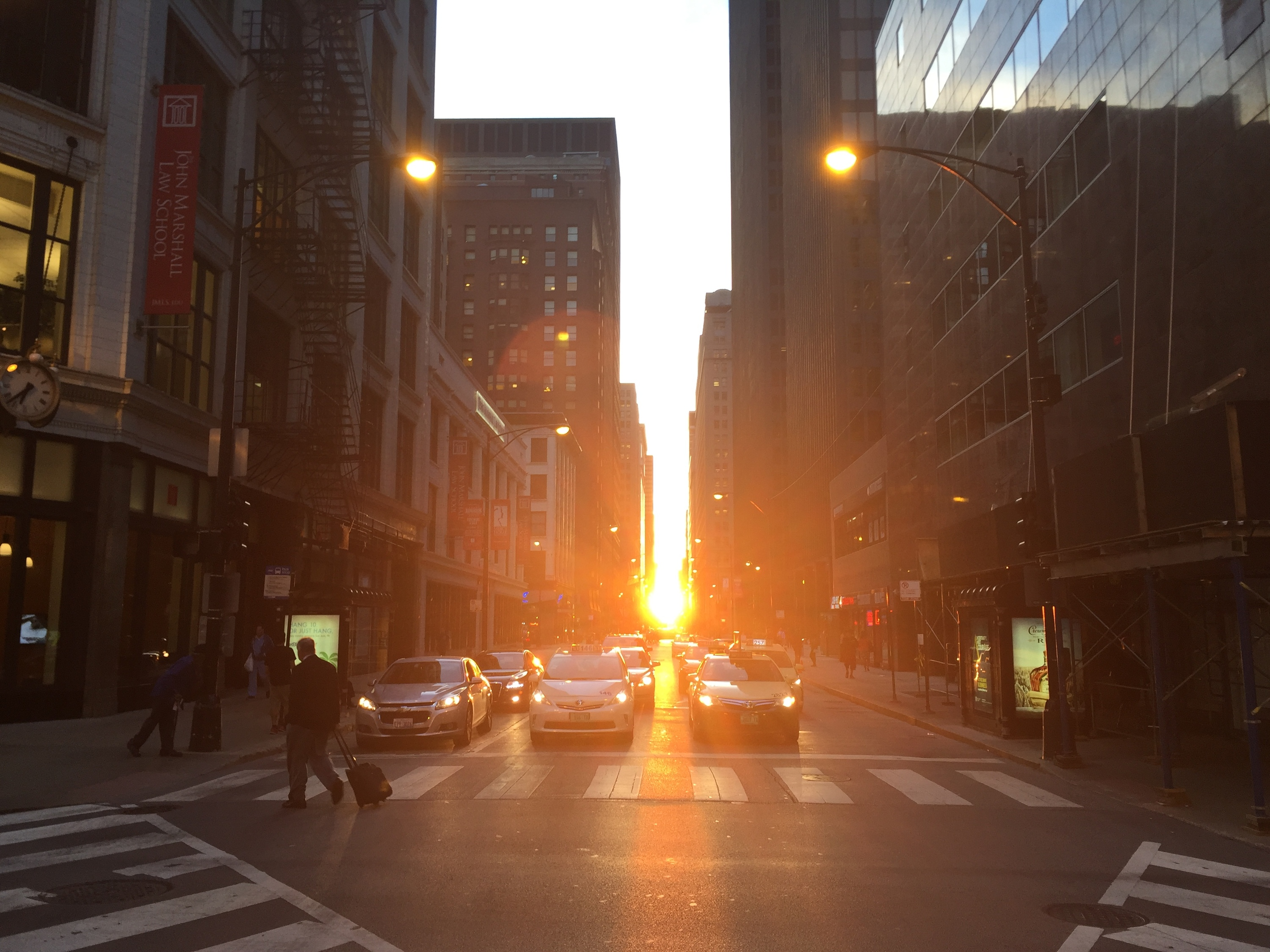 The autumn edition of Chicagohenge shines throughout the city tonight