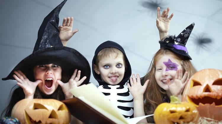 Children in Halloween fancy dress costumes