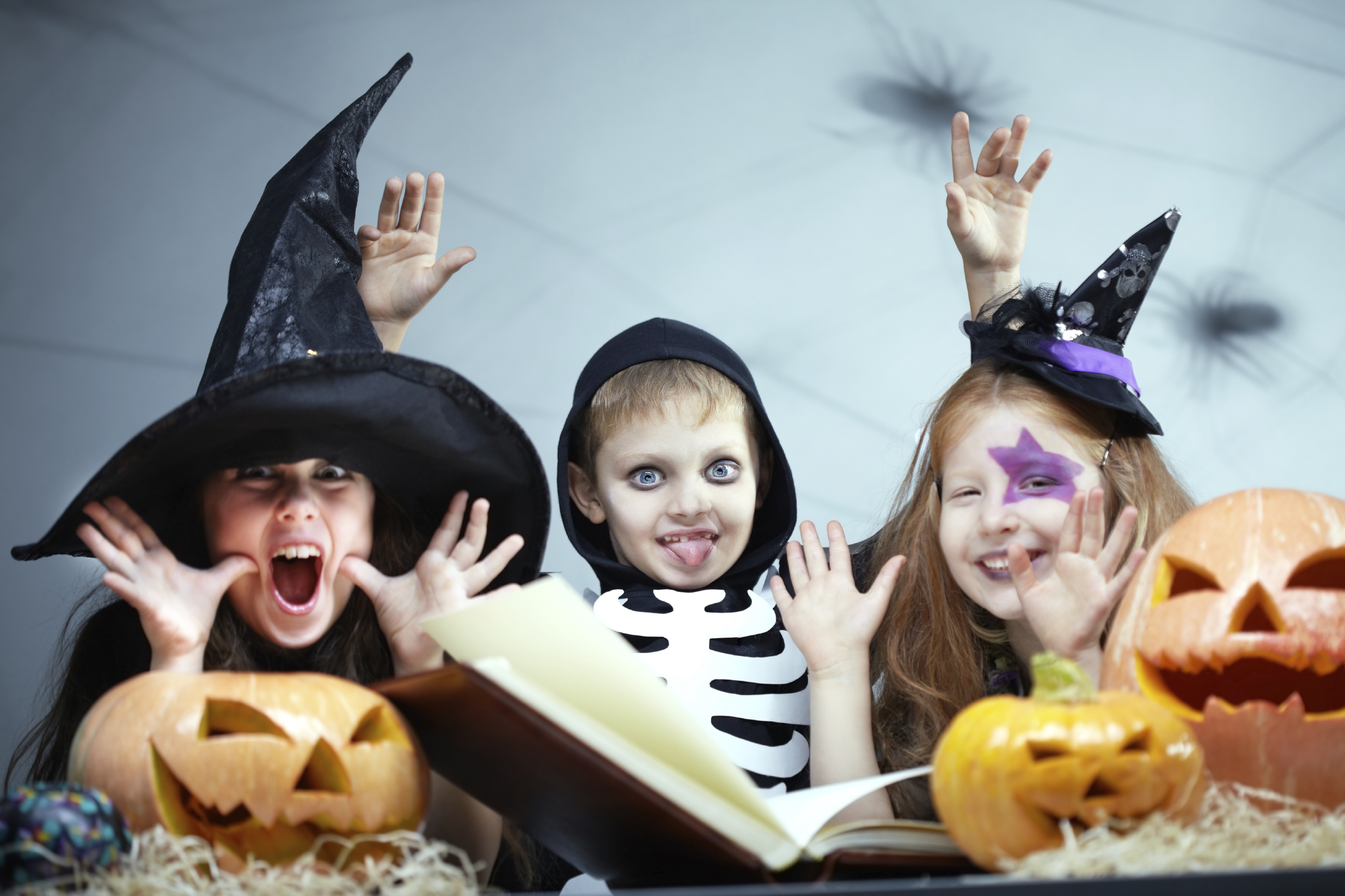 Children in Halloween fancy dress costumes
