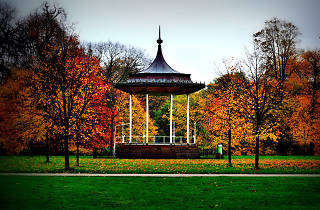 The bandstand in Kensington Gardens, London, in autumn.