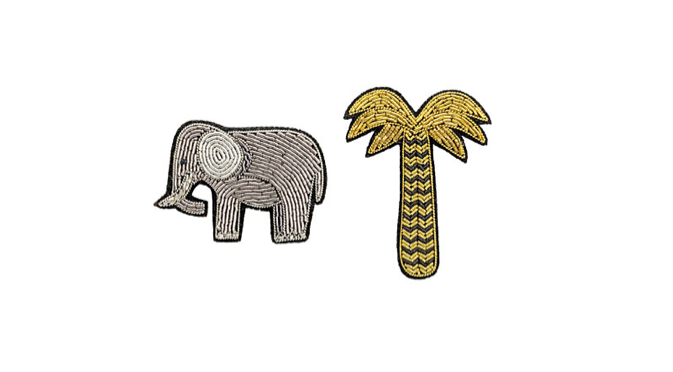 Embroidered elephant and palm tree brooches, £65