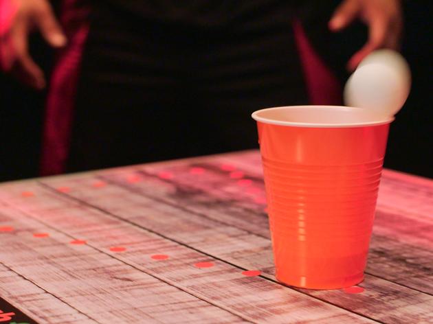 Beer pong at Brit Pong