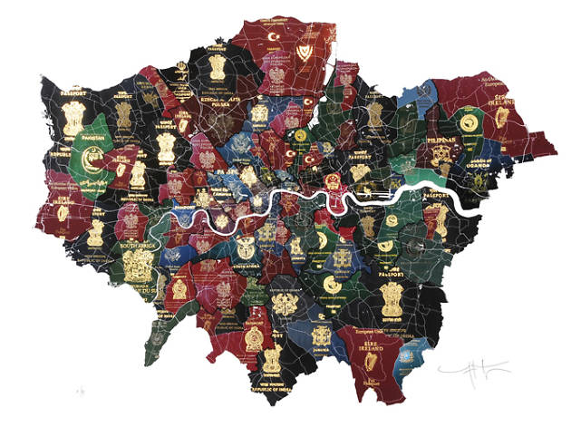 someones made a map of london out of passports to show diversity in the city