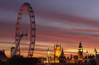 london eye, sunset