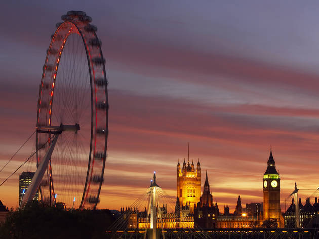 london eye, sunset