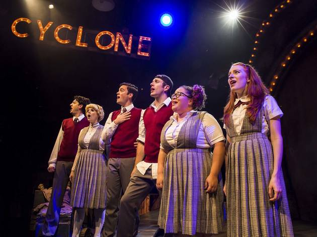 Jackson Evans, Emily Rohm, Kholby Wardell, Russell Mernagh, Lillian Castillo and Tiffany Tatreau in Ride the Cyclone at Chicago Shakespeare Theater