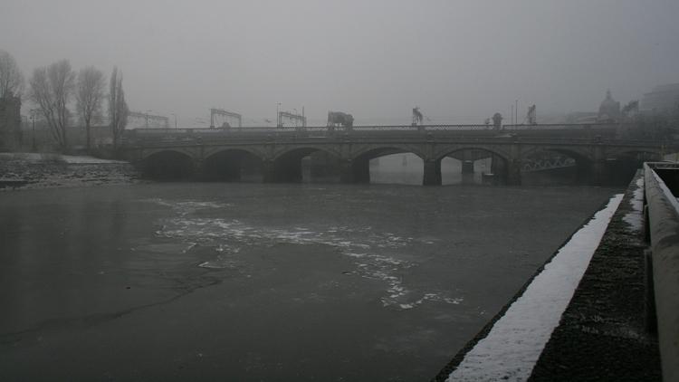 river clyde, snow, ice, mist, fog