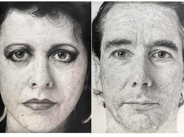Jim Shaw, Untitled (Sketch for Giant Face Painting Diane Gamboa), 1992, left; Untitled (Sketch for Giant Face Painting Mike Kelley), 1992, right