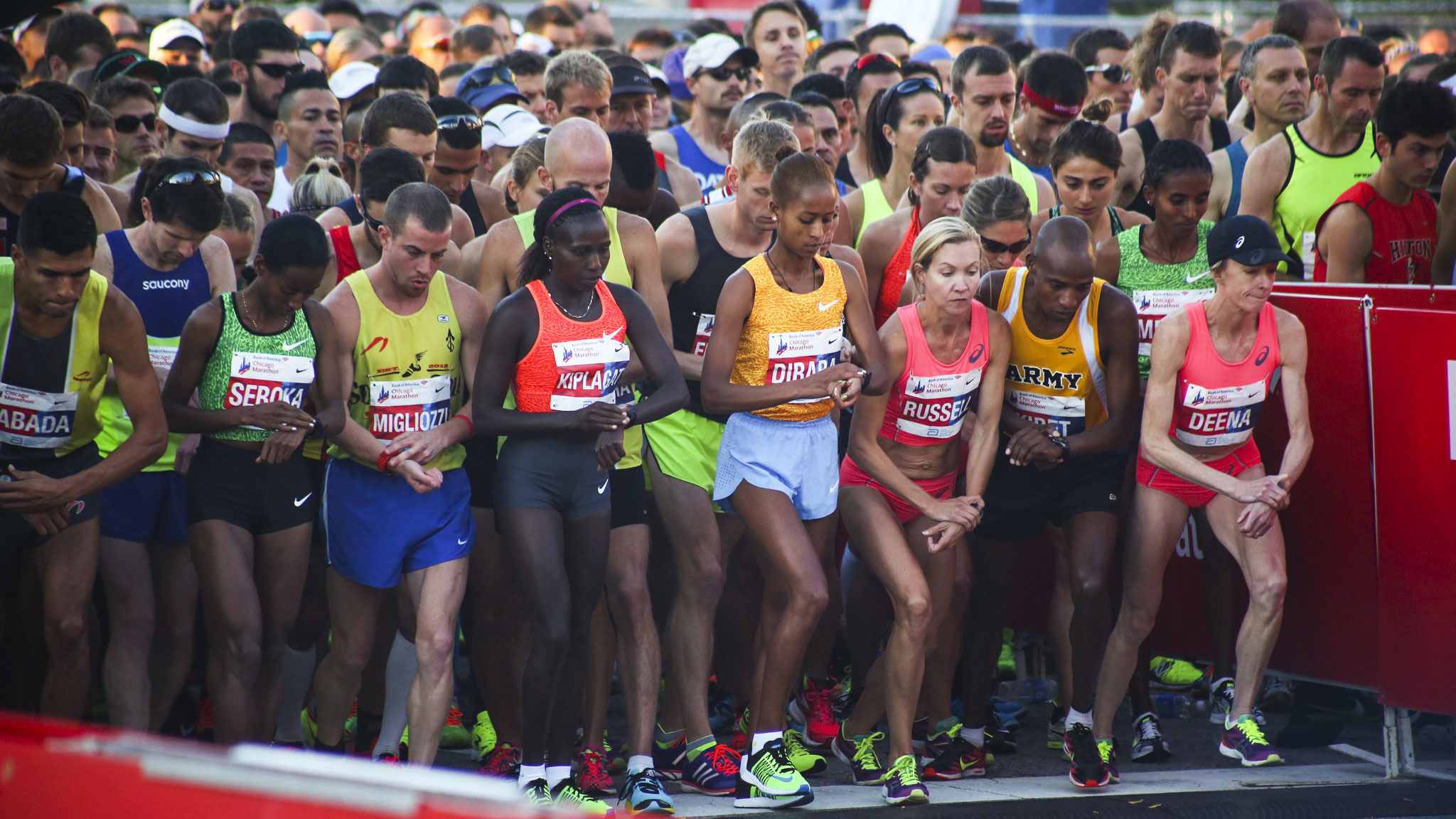 Starting and finishing at the 2015 Chicago Marathon