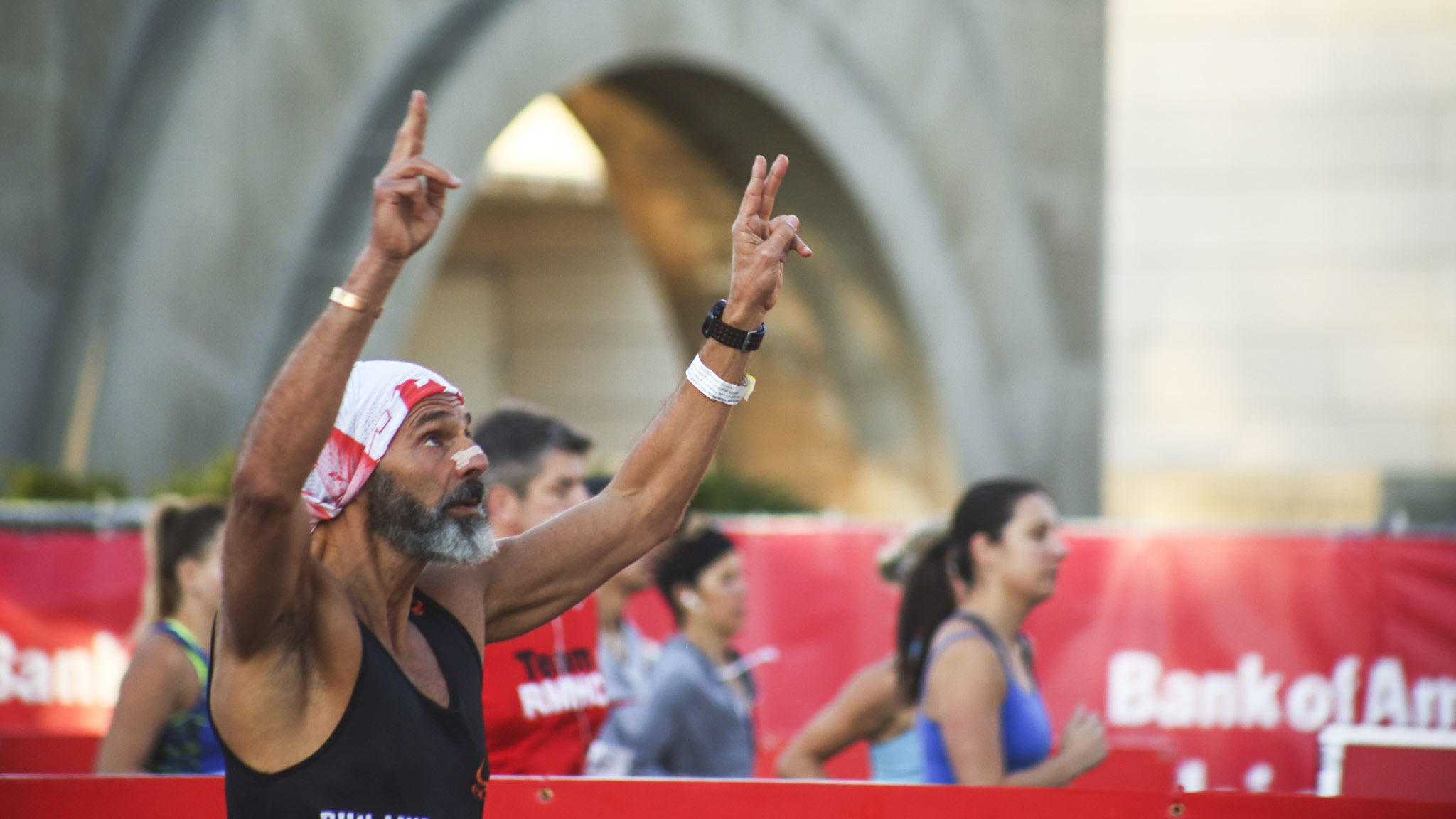 Participants started the race and crossed the finish line in Grant Park at the 2015 Chicago Marathon.