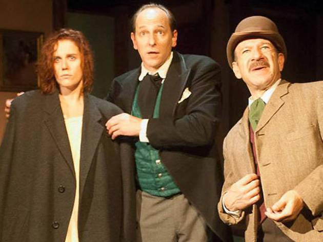 Adrienne Matzen, James Sparling and Adam Bitterman in The Seven-Per-Cent Solution at City Lit Theatre