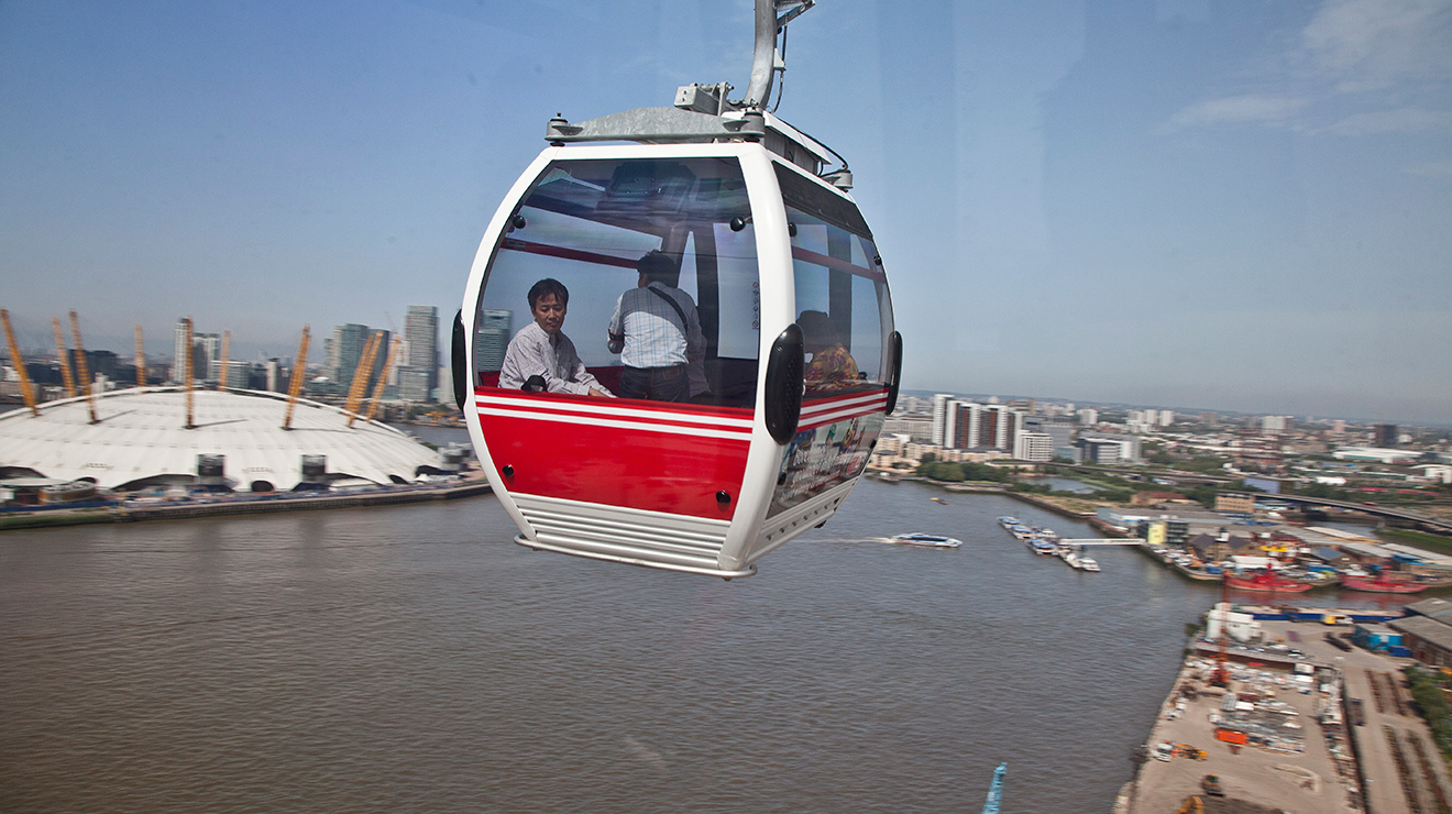 Cross the Thames in a cable car