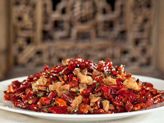 Fragrant chicken in a pile of red chillies at Barshu