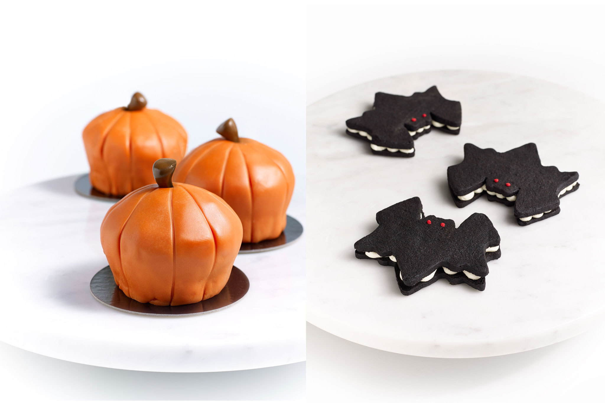 Pumpkin cupcakes and bat cookies at Bouchon Bakery