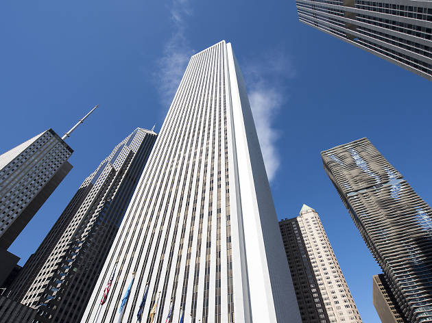 Visitors explored the towering Aon Center with breathtaking views downtown during Open House Chicago on Saturday, October 17, 2015.