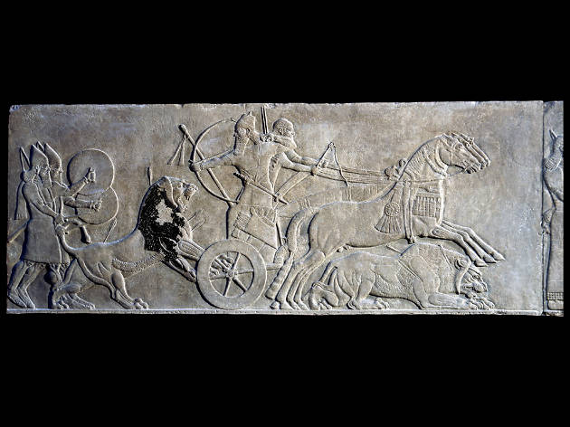 Gypsum wall panel relief: showing Ashurnasirpal II hunting lions