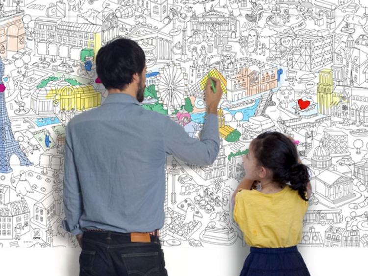 Une carte de Paris géante à colorier