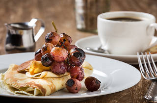 Balena's new brunch includes this roasted grape-topped crespelle.