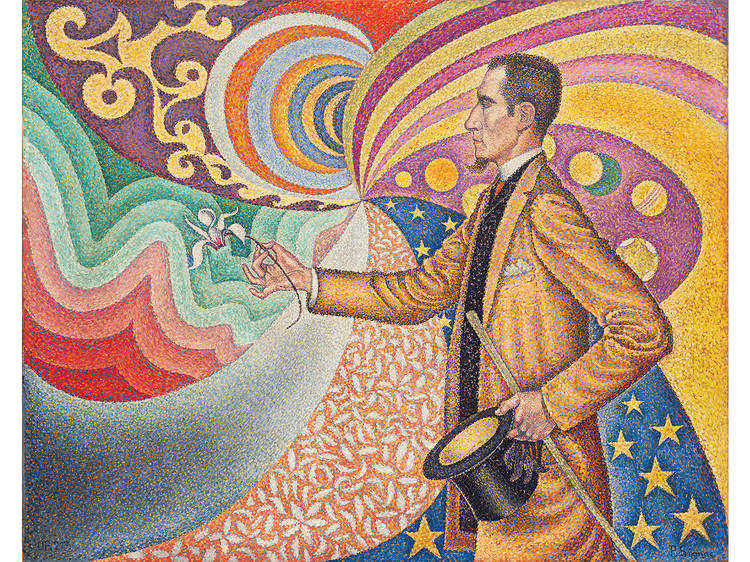 Paul Signac, Opus 217. Against the Enamel of a Background Rhythmic with Beats and Angles, Tones, and Tints, Portrait of M. Félix Fénéon in 1890 (1890)