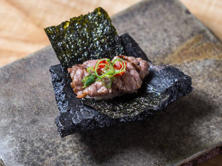 Spicy tuna roll at Shuko