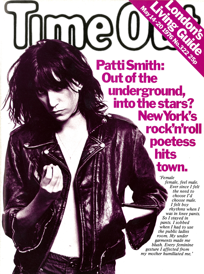 Patti Smith on the cover of Time Out, May 1976