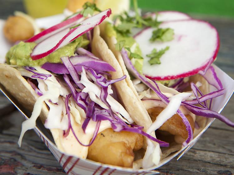 Fish tacos at Tacoway Beach