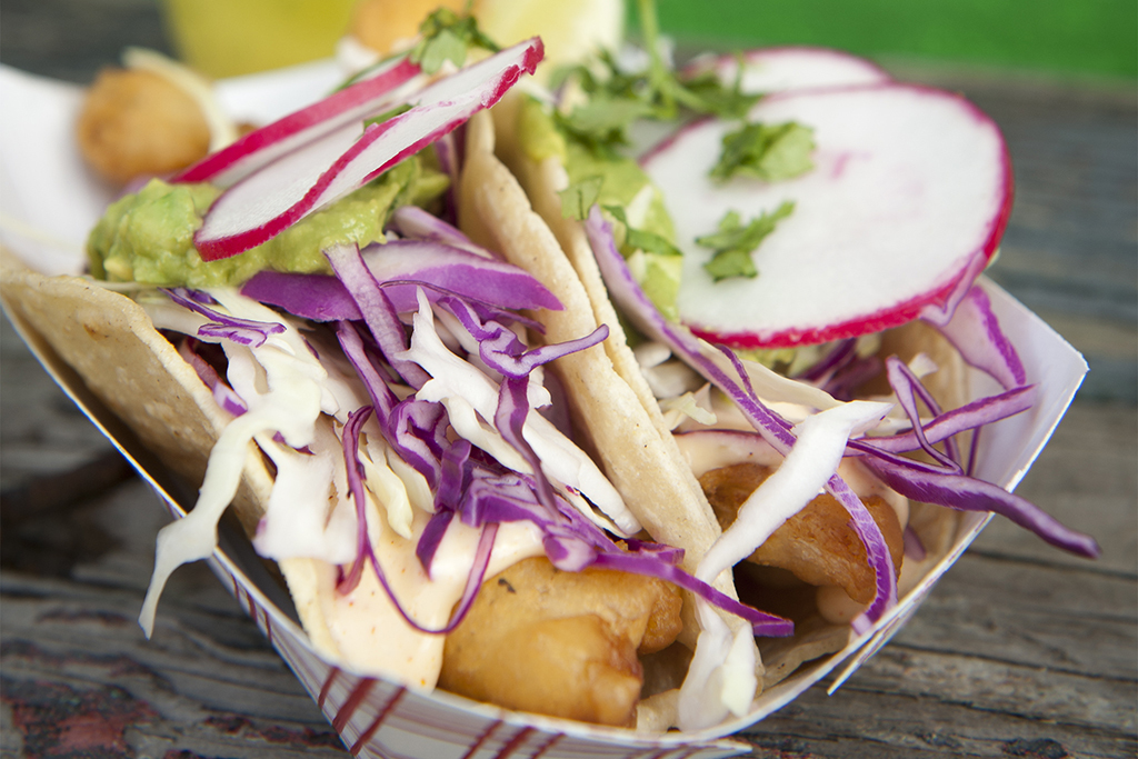 Fish tacos at Tacoway Beach