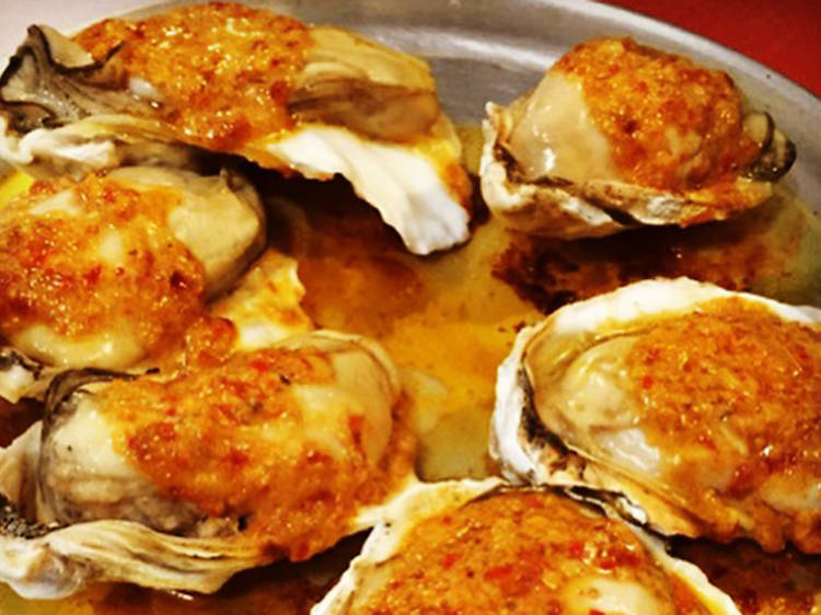 Oysters in red sambal butter at Mekelburg's