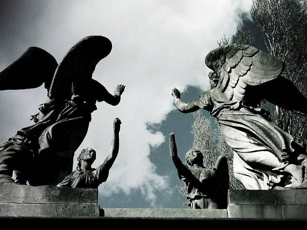 Four angels reach for each other over Kensal Rise Cemetery