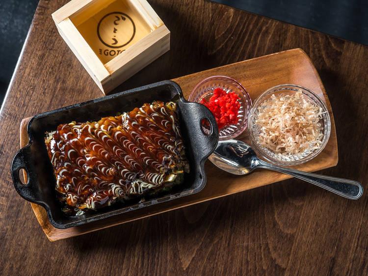 Grilled cheese okonomiyaki at Bar Goto