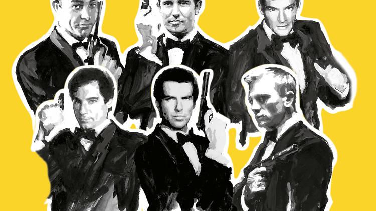 James Bond, agente 007: Pierce Brosnan, Daniel Craig, Timothy Dalton, Roger Moore, Georege Lazenby y Sean Connery