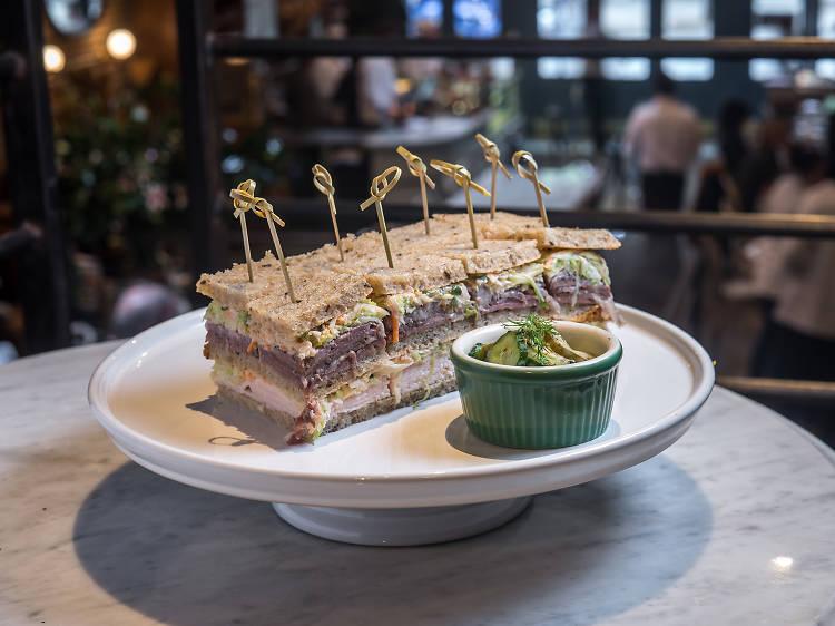 Triple-decker sandwich at Sadelle's